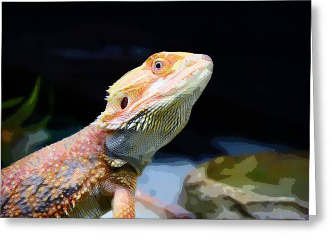 Espresso Prints Greeting Cards - The wise Lizard Greeting Card by Celestial Images