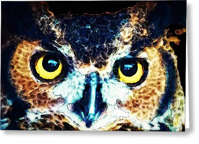 Wild Life Photographs Greeting Cards - The Wise One - Owl Art By Sharon Cummings Greeting Card by Sharon Cummings