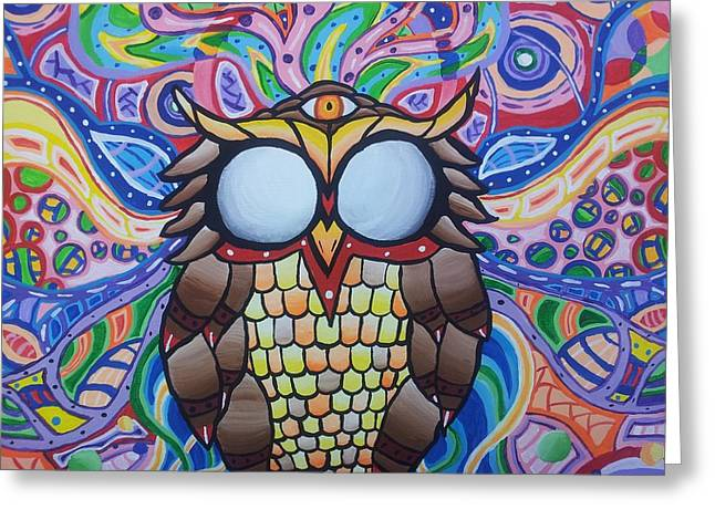Psychedelic Owl Greeting Cards - The Wise Owl Greeting Card by Tyler Chewning