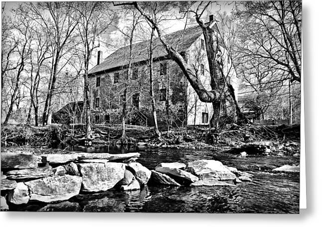 Wissahickon Greeting Cards - The Wissahickon Creek and Mather Mill in Black and White Greeting Card by Bill Cannon
