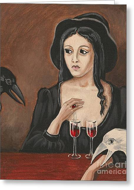 Ryta Greeting Cards - The Witch and Two Ravens Greeting Card by Margaryta Yermolayeva