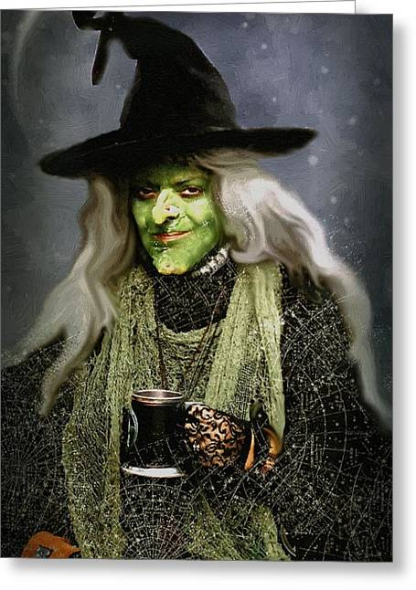 Flagon Greeting Cards - The Witch of Endor as a Cavalier Greeting Card by RC DeWinter