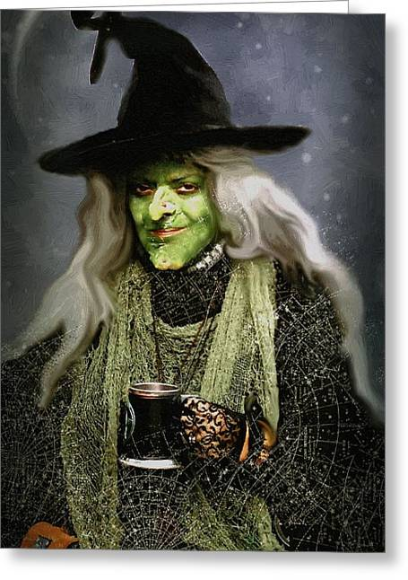 The Witch Of Endor As A Cavalier Greeting Card by RC deWinter