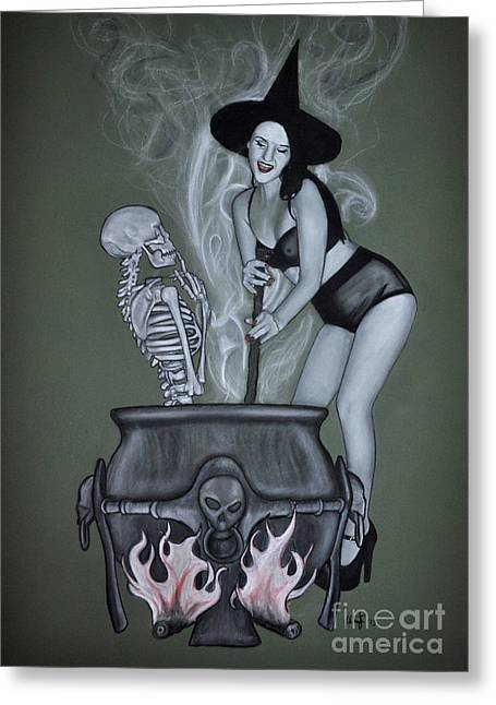 The Witches Brew Greeting Card by Joe Dragt