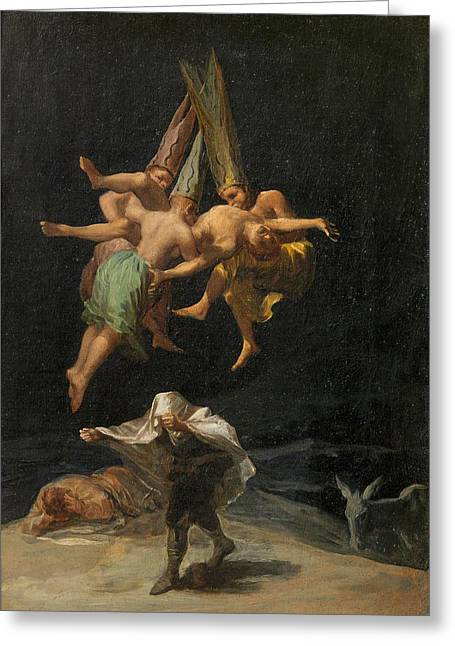 The Witches' Flight Greeting Card by Francisco Goya