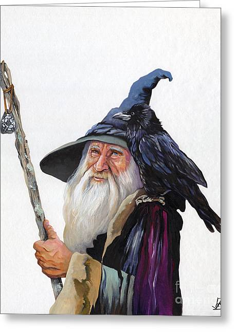 The Wizard And The Raven Greeting Card by J W Baker