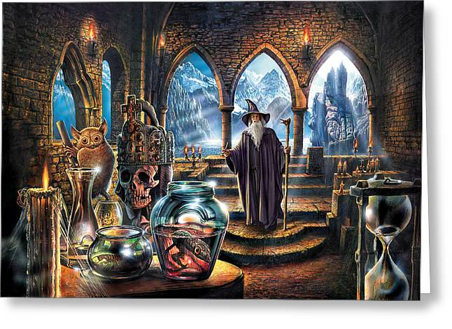Crisp Greeting Cards - The wizards Castle Greeting Card by Steve Crisp