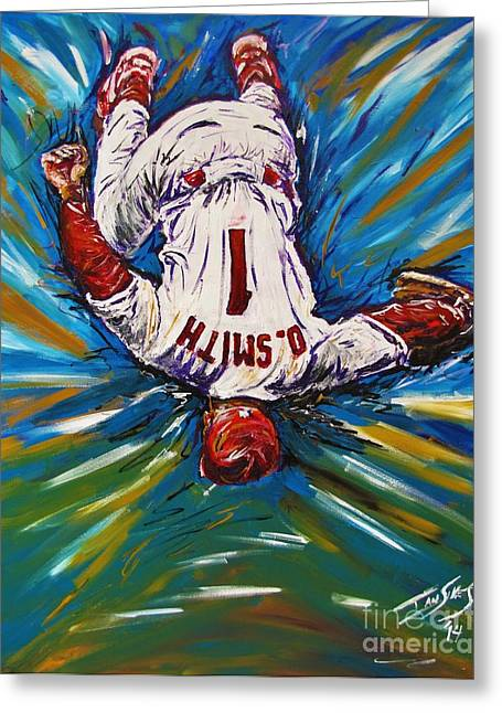 Baseball Glove Greeting Cards - The Wizzard Greeting Card by Ian Sikes