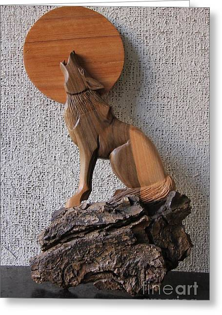 Moon Sculptures Greeting Cards - The Wolf and the Moon Sculpture Wood Work Greeting Card by Persian Art