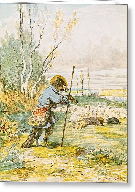 Dressing Up Greeting Cards - The Wolf As A Shepherd, From The Fables By Jean De La Fontaine 1621-95 Colour Litho Greeting Card by Jules David