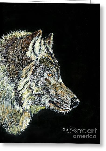 Print On Canvas Greeting Cards - The Wolf Greeting Card by Bob Williams