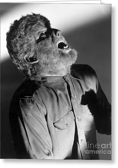 Horror Greeting Cards - The Wolf Man - Lon Chaney Jr Greeting Card by MMG Archives