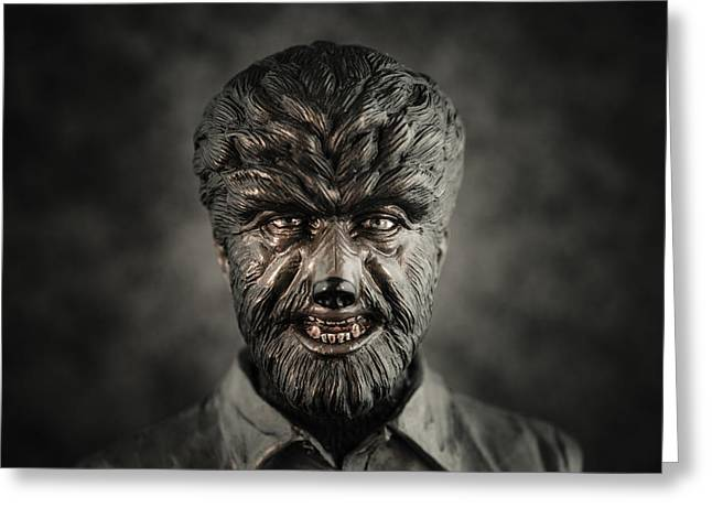 Universal Monsters Greeting Cards - The Wolf Man - Lon Chaney Jr Greeting Card by Marco Oliveira