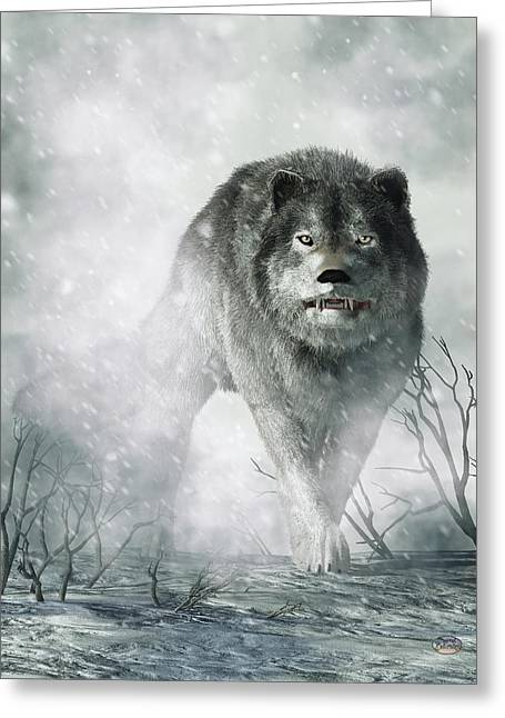 Snowstorm Digital Art Greeting Cards - The Wolf of Winter Greeting Card by Daniel Eskridge