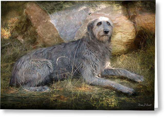 Dogs In Art Greeting Cards - The Wolfhound  Greeting Card by Fran J Scott