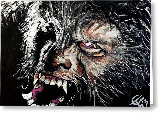 Wolfman Greeting Cards - The Wolfman Greeting Card by Tom Carlton