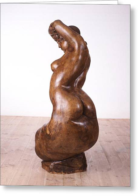 Wood Carving Sculptures Greeting Cards - The woman in not a product Greeting Card by Wilfried  Senoner