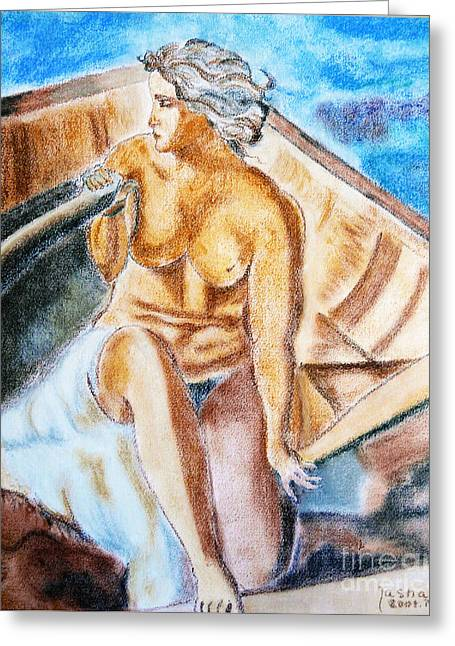 The Woman Rower Greeting Card by Jasna Dragun
