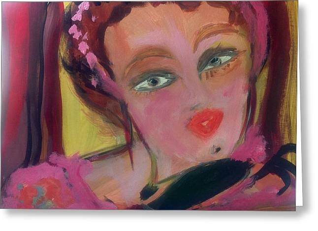 Opera Gloves Paintings Greeting Cards - The woman who whistled at the opera Greeting Card by Judith Desrosiers