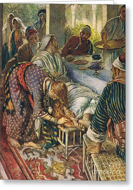 Sinner Greeting Cards - The Woman with the Box of Ointment Greeting Card by Harold Copping
