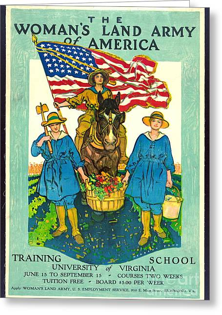 The Woman's Land Army Of America 1918 Greeting Card by Padre Art