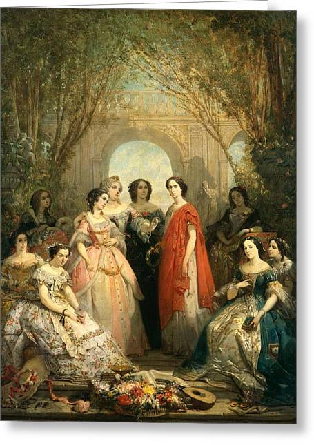Les Greeting Cards - The Women Of The Comedie Francaise In Their Costumes, 1855 Oil On Canvas Greeting Card by Faustin Besson
