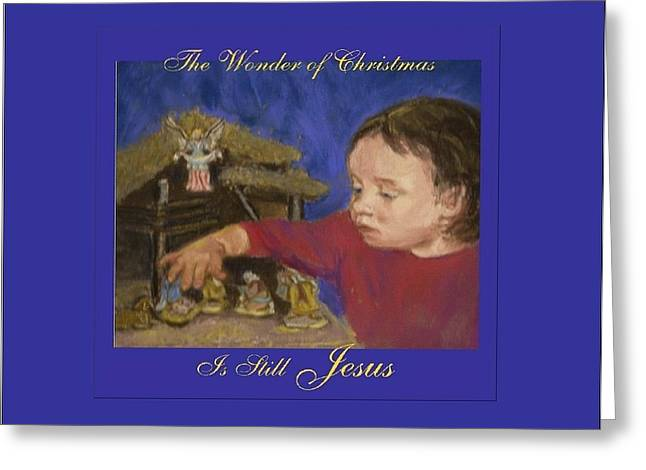 Jesus Pastels Greeting Cards - The Wonder of Christmas Greeting Card by Harriett Masterson