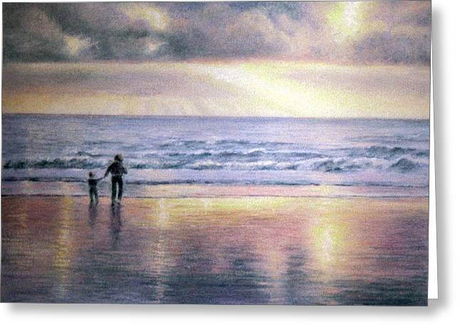 Sand Pastels Greeting Cards - The Wonder of Light Greeting Card by Rosemary Colyer