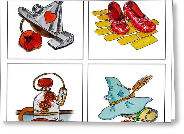 Brain Paintings Greeting Cards - The Wonderful Wizard Of Oz Greeting Card by Irina Sztukowski