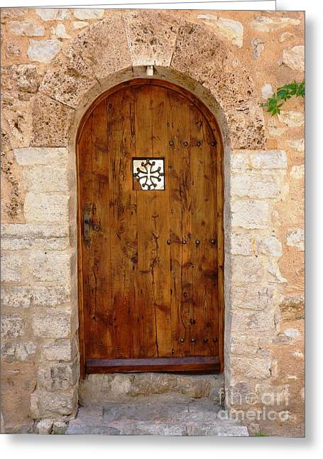 Wooden Sculpture Greeting Cards - The Wood Door Greeting Card by Cristina Stefan