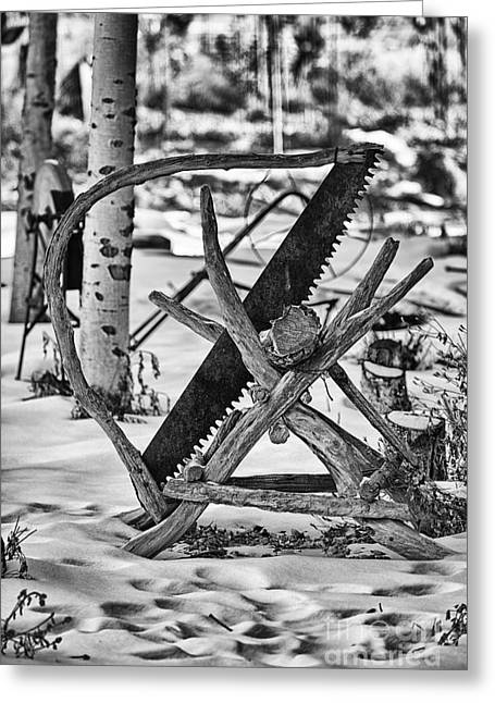 Saw Greeting Cards - The Wood Saw-Black and White Greeting Card by Douglas Barnard