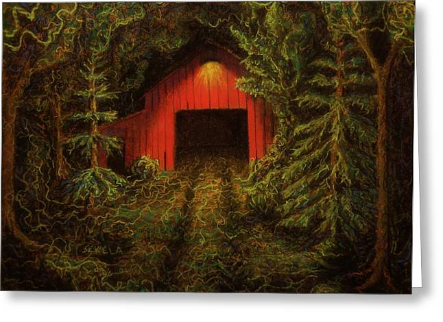 Sheds Pastels Greeting Cards - The Wood Shed Greeting Card by John Sekela