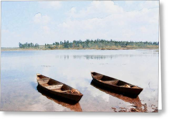 China Beach Greeting Cards - The wooden boat 1 Greeting Card by Lanjee Chee