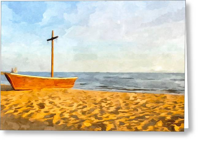 China Beach Greeting Cards - The wooden boat Greeting Card by Lanjee Chee