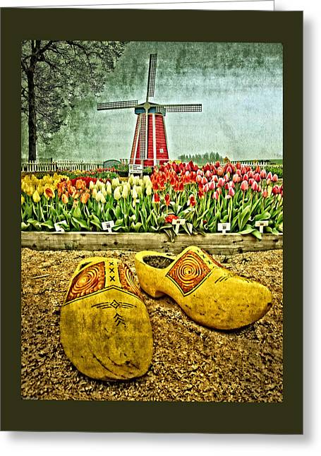 Tulip Greeting Cards - The Yellow Wooden Shoes Greeting Card by Thom Zehrfeld