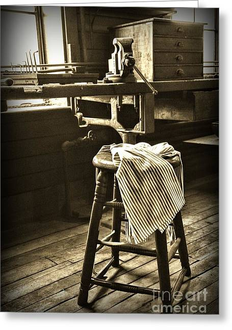 For Factory Greeting Cards - The Wooden Stool in Black and White Greeting Card by Paul Ward
