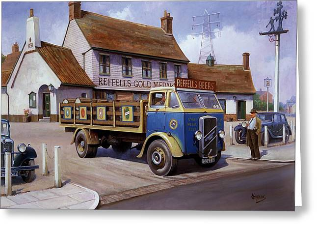 1930s Paintings Greeting Cards - The Woodman pub. Greeting Card by Mike  Jeffries