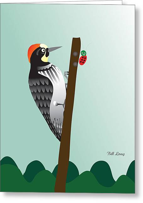 Large Scale Greeting Cards - The Woodpecker Greeting Card by Dr Bill  Long