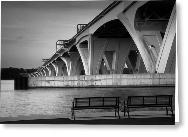 Architecture Metal Prints Greeting Cards - The Woodrow Wilson Bridge Greeting Card by Steven Ainsworth