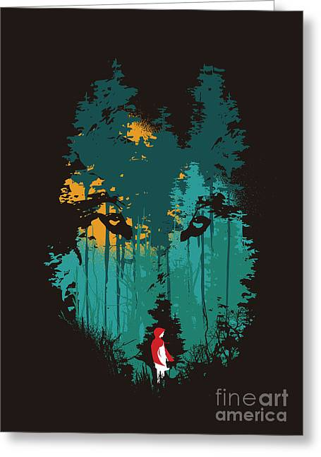 Story Book Greeting Cards - The woods belong to me Greeting Card by Budi Kwan