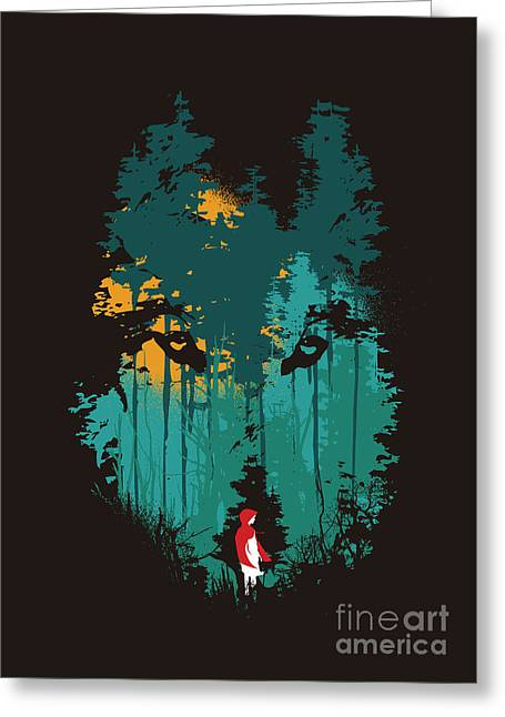 Wolf Digital Greeting Cards - The woods belong to me Greeting Card by Nava Seas