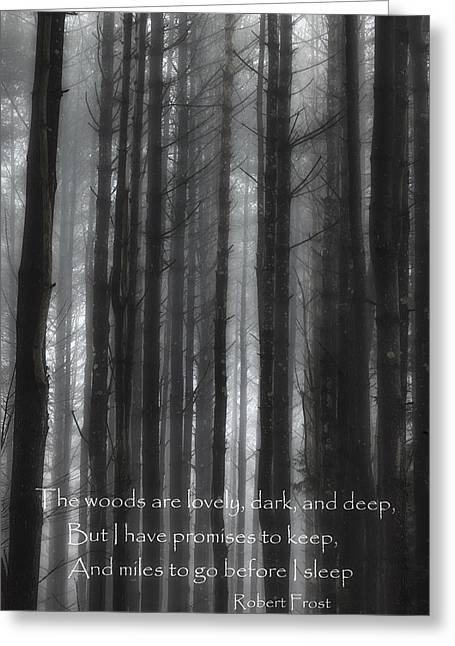 Woodland Scenes Greeting Cards - The Woods Black And White Greeting Card by Bill  Wakeley