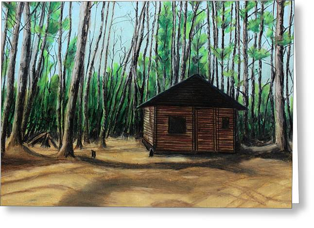 Historic Home Pastels Greeting Cards - The woodshed Greeting Card by Jeanne Fischer