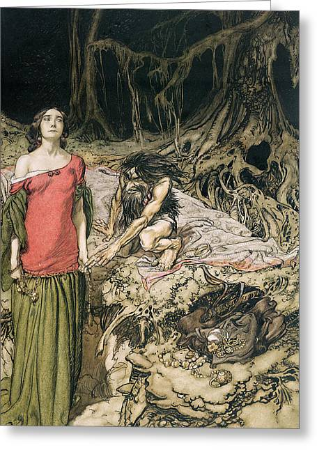 Goblins Greeting Cards - The Wooing of Grimhilde the mother of Hagen from Siegfried and The Twilight of the Gods Greeting Card by Arthur Rackham