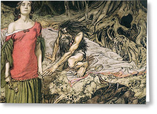 The Wooing of Grimhilde the mother of Hagen from 'Siegfried and The Twilight of the Gods Greeting Card by Arthur Rackham