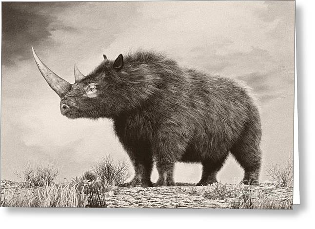 One Horned Rhino Greeting Cards - The Woolly Rhinoceros Is An Extinct Greeting Card by Philip Brownlow