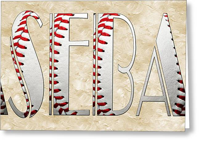 Single Mixed Media Greeting Cards - The Word Is BASEBALL Greeting Card by Andee Design