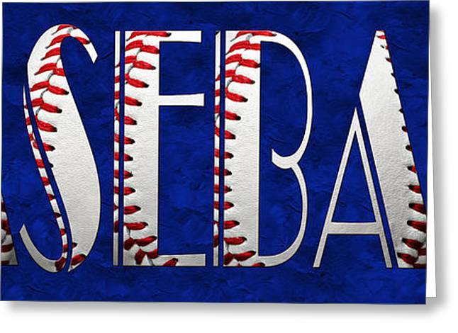 Equipment Mixed Media Greeting Cards - The Word Is BASEBALL On Blue Greeting Card by Andee Design