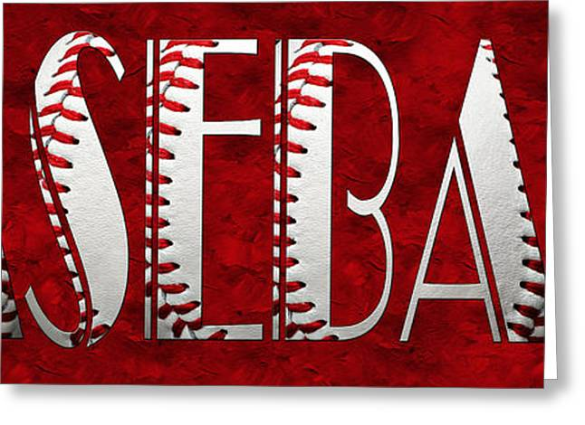 Single Mixed Media Greeting Cards - The Word Is BASEBALL On Red Greeting Card by Andee Design