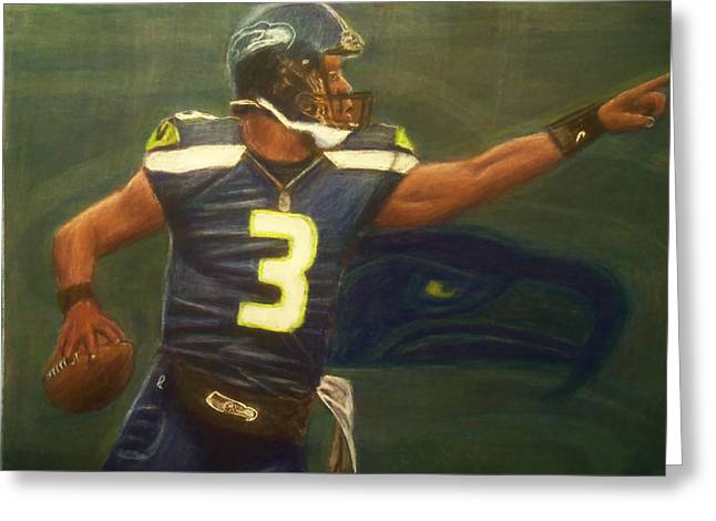Quarterback Pastels Greeting Cards - The Word is Out feat Russell Wilson Greeting Card by D Rogale